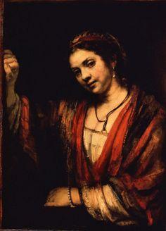 Rembrandt, Junge Frau an geöffneter Obertür (Hendrickje Stoffels?) (ca. 1656-57, Gemäldegalerie, Berlin)