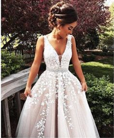 V Neck Prom Dress,Lace Prom Dresses,Sexy Prom Dress,Formal Dresses 2016,Evening Dress,ball gown prom dress