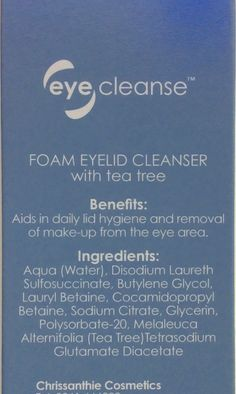 Chrissanthie eye cleanse Foam Eyelid Cleanser with Tea Tree 80 ml Allinone supreme antibacterial eyelash extensions cleanser and makeup remover relief for crusted irritated lids ** For more information, visit image link. (This is an affiliate link) Eye Make-up Remover, Makeup Remover, Tea Tree Benefits, Melaleuca, Eyelash Extensions, Cleanser, Supreme, Eyelashes