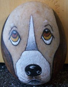 Wow! Hand painted DOG on Rock/Stone~ Signed by Artist (Marmel) ~OOAK