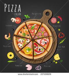 Set of Italian Pizza on Wooden Boards. 9 Items by serbina Set of italian Pizza on wooden boards. Allo Pizza, Stück Pizza, Pizza Art, Pizza Boxes, Good Pizza, Pizza Branding, Pizza Logo, Pizzeria Design, Deco Pizzeria
