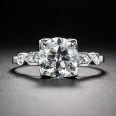 1.50 Diamond Art Deco Engagement Ring - GIA K/VS2 - Vintage Engagement Rings