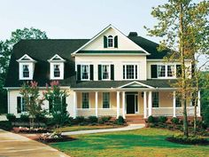 Greek Revival House Plan with 3285 Square Feet and 5 Bedrooms(s) from Dream Home Source | House Plan Code DHSW42515. I love the exterior with the vinyl siding in Grey.