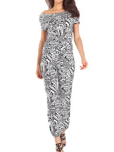 Casual Oversize Floral Short Sleeve Casual Jumpsuits on buytrends.com