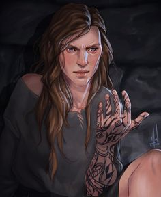 """cocotingo: """" I finished the first book today and I needed to draw Feyre discovering the tattoo on her hand. I spent a lot of time trying to get her face like I picture it and I'm quite happy with it so Yay! """""""