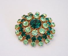 Vintage green rhinestone crystal brooch by chicvintageboutique, $15.00