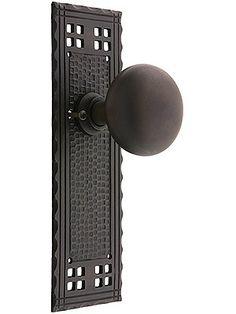 Bronze Doorknobs. Arts & Crafts Privacy Door Set in Oil-Rubbed Bronze.