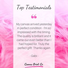 """Top Testimonials from our happy customers ❤️ """"My canvas arrived yesterday in perfect condition - I'm so impressed with the timing. The quality is brilliant and it came out even better than I had hoped for. Truly the perfect gift! Framed Prints, Canvas Prints, My Canvas, Wood Print, Coming Out, Conditioner, Things To Come, Happy, Gifts"""