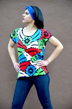 Vibrant Multicolor Mexican Hand Embroidered Blouse / Huipil / Tunic from Oaxaca, Mexico on Etsy, $87.00