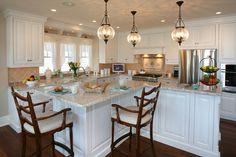 Pretty-Mediterranean-Glass-Pendant-Lighting-White-Kitchen-Cabinet-Wood-Barstools-Small-Kitchen-Island-Precious-Fake-Flowers-Wood-Floor.jpg 6...