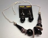 Black and Grey Button Necklace with earrings