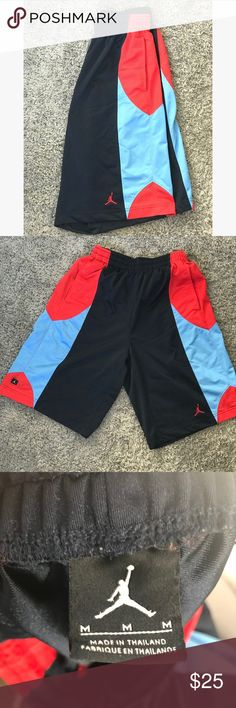 Jordan men's basketball shorts size medium Jordan men's basketball shorts size medium. Blue black and red in color. Super comfy and in great condition! Jordan Shorts Athletic