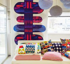 Marimekko Autumn/Winter 2014 - Designed by scandinavian designer Sanna-Annukka Textiles, Textile Patterns, Textile Design, Color Patterns, Marimekko Fabric, Deco Retro, Retro Fabric, Illustration, Nordic Design