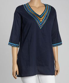 This Navy Geometric V-Neck Tunic - Plus by Highness NYC is perfect! #zulilyfinds
