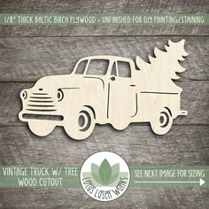 Vintage Truck With Christmas Tree Wood Cut Shape, Laser Cut Wood Truck, Wood Shapes For DIY Crafting, Wood Christmas Shapes, Wood Truck Christmas Wood Crafts, Christmas Signs, Fall Crafts, Holiday Crafts, Christmas Tree, Christmas Presents, Xmas, Crafts To Sell, Diy And Crafts