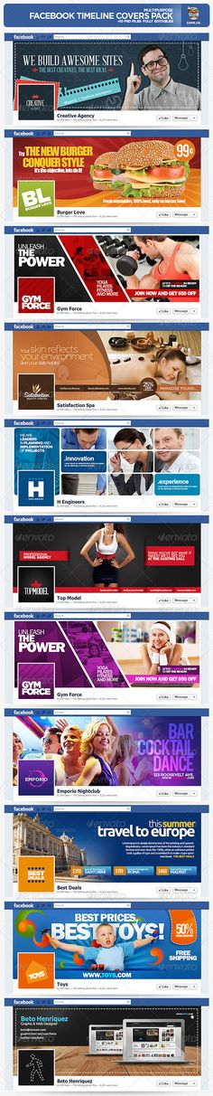 Multipurpose Facebook Timeline Covers Pack - GraphicRiver Facebook Cover Photo Template, Facebook Cover Design, Facebook Timeline Covers, Cover Template, Banner Template, Web Design, Social Media Design, Graphic Design, Fb Banner