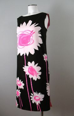 Vintage 60s Dress Cotton Shift Pop Art Small bust 36
