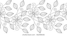 Imágenes similares, fotos y vectores de stock sobre Monochrome Seamless Pattern with Floral Motifs. Endless Texture with Flowers, Leaves etc. Natural Background in Doodle Line Style. Coloring Book Page. Glass Painting Designs, Stained Glass Designs, Paint Designs, Embroidery Neck Designs, Embroidery Patterns Free, Embroidery Stitches, Islamic Art Pattern, Pattern Art, Mexican Embroidery