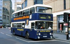 Before the purchase by Stagecoach,The Busways fleet was a very colourful affair.Here Alexander bodied Leyland Atlantean SCN displays the Blue Bus Services colours in Newcastle Blue Bus, Double Decker Bus, Bus Coach, Coaches, Newcastle, Trains, Transportation, Cars, Model