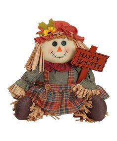 Another great find on #zulily! 'Happy Harvest' Sitting Girl Scarecrow Figurine by GCA International #zulilyfinds
