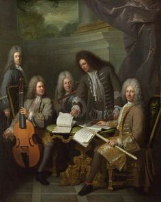 La Barre and other musicians - André Bouys, 1710.  Michel de la Barre was a flautist and composer (1674-1744). He is the man standing turning the music. The man on the right whose costume is richer may have commissioned the portrait as a record of his association with the musicians. National Gallery, London