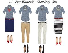 """10 - Piece Wardrobe - Chambray Shirt"" by bluehydrangea ❤ liked on Polyvore"
