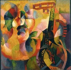 By Robert Delaunay (1885-1941), 1913, Sun, Tower, Airplane,  Oil on canvas,  Albright-Knox Art Gallery, Buffalo. (Cubism0