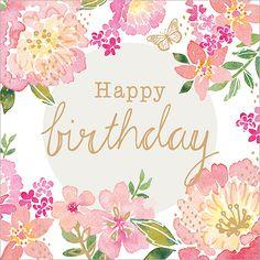 Welcome to Flamingo Paperie Happy Birthday Floral, Happy Birthday Wishes Photos, Happy Birthday Art, Happy Birthday Wallpaper, Happy Birthday Messages, Happy Birthday Greetings, Birthday Fun, Little Girl Birthday, Birthday Quotes