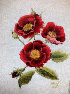 "Order Art expanse 'Gallic roses', an embroidered picture. Wine - Art expanse ""Gallic roses"", an embroidered picture - buy or order in an online shop on Livemaster Embroidery Designs, Ribbon Embroidery Tutorial, Embroidery Needles, Learn Embroidery, Silk Ribbon Embroidery, Crewel Embroidery, Embroidery Thread, Flower Embroidery, Medieval Embroidery"