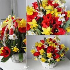Spring flowers basket
