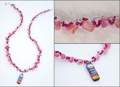 Wire Crochet Necklace With Dichroic Glass Pendant