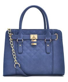 Look at this Navy Blue Quilted Structured Satchel on #zulily today!