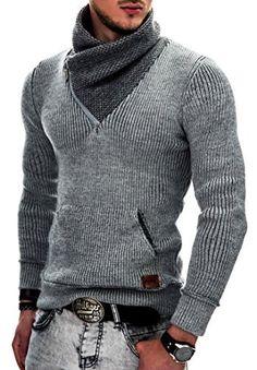 Maki Styles Hommes Pull en maille Sweat à capuche Gilets 526 S M L XL XXL: Pull à tricoter élégant pour hommes • Slim fit • Bordures…