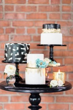 Modern Wedding Cakes - A modern black and white wedding in San Diego with touches of seafoam color. Black Wedding Cakes, Cool Wedding Cakes, Beautiful Wedding Cakes, Wedding Black, Gold And White Cake, White Cakes, Fondant Cake Designs, Modern Wedding Flowers, Wedding Cake Inspiration