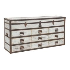 Take a step back in time with this antique steamer trunk inspired sideboard. This versatile piece is hand constructed of reclaimed pine with rustic hardware and a vintage white wash finish for the perfect addition to any room.