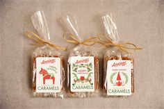 Annie B's 10-piece Caramel Bags. Available in assorted, original or sea salt. Holiday labels are artist-designed and Scandinavian Folk Art themed. Seasonal and customizable messaging is available on labels. Great stocking stuffer or party favor!