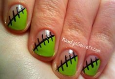 Frankenstein Nails.  So cute for Halloween :)