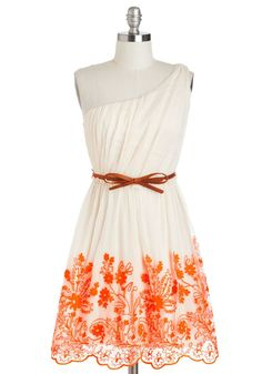 Off the shoulder, bow belt, orange flowers.... Can it get any prettier?