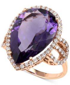 Amethyst (11-1/2 ct. t.w.) and Diamond (3/4 ct. t.w.) Teardrop Ring in 14k Rose Gold   macys.com