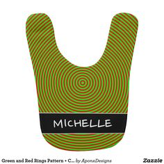 - and Red Rings Pattern Custom Name Bib Red Rings, Baby Bibs, Green, Pattern, Color, Design, Bibs, Patterns, Colour