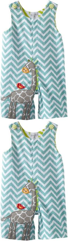 Mud Pie Unisex-Baby Newborn Safari Giraffe Shortall Set, Multi, 12-18 Months - Sure to be your little one's favorite outfit complete with a giraffe and a bird buddy, this textured cotton shortall features blue chevron pattern and giraffe applique and an inner leg snap closure, - Overalls - Apparel - $21.26