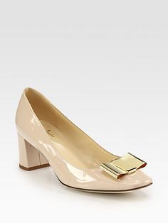 Kate Spade New York Dijon Patent Leather Bow Pumps- A LESS expensive version of my dream shoe: Ferragamo Leather Bow, Patent Leather, Hermes Handbags, Dream Shoes, Kitten Heels, Peep Toe, Kate Spade, Dress Up, Footwear