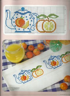 Teapot and fruit design. Would look lovely on a towel in the kitchen!