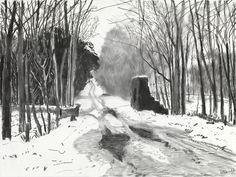 A charcoal sketch by David Hockney of Woldgate, the Roman road running west from Bridlington that has been a recurring feature in his work