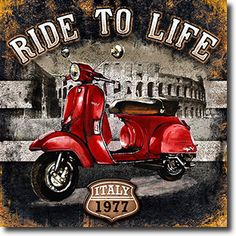 Motorbike 01 Ride to Life Poster Print by Bresso Sola Decoupage Vintage, Decoupage Paper, Vintage Diy, Vintage Labels, Vintage Metal, Vintage Signs, Vintage Cars, Vintage Pictures, Vintage Images