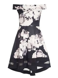 Womens *Quiz Multi Colored Floral Print Scuba Skater Dress- Black