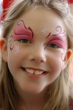 Pink  Fairy Swirls Face Painting