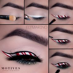 Have a little fun with your makeup this holiday season, try candy cane inspired liner 🎄🍬 . Makeup Tips, Eye Makeup, Hair Makeup, Makeup Ideas, Holiday Makeup, Christmas Makeup, Eyeliner Tutorial, Candy Cane, Get The Look