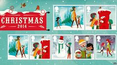 UK Royal Mail 2014 Christmas postage stamps. Illustrator Andrew Bannecker.