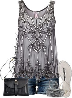 "Love this outfit for a night out at the outdoor bar....Gray/Silver embellished tank with cutoffs  ""Untitled #716"" by mzmamie on Polyvore"